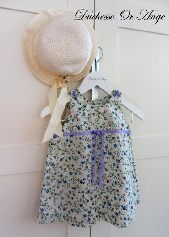 White, blue and purple floral cotton baby dress, purple buttons in the shape of roses - 12 months old