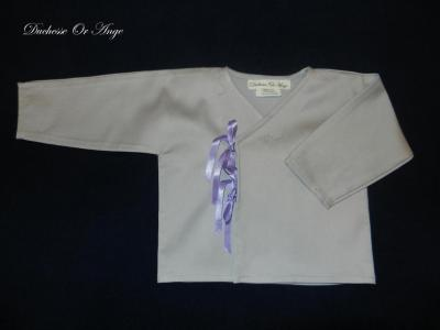 Gray baby wrap over, purple ribbons - 12 months