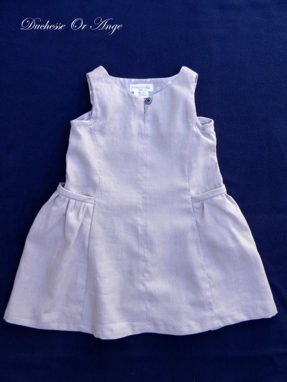 Robe  à poches froncées en lin gris - 4 ans