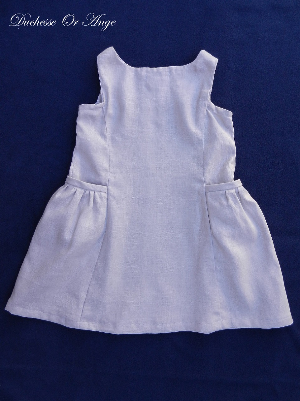 Doa 100 robe enfant lin gris linen child dress c