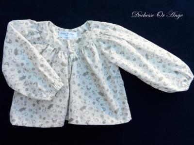 Long sleeves cream cotton blouse - 2 years old