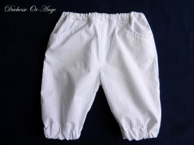White and thin navy stripes cotton Capri pants - 3 years old