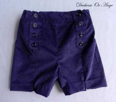 Dark purple velvet bermuda - 3 years old