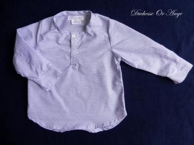 Collarless  and long sleeves cotton shirt in white and navy stripes - 3 years old