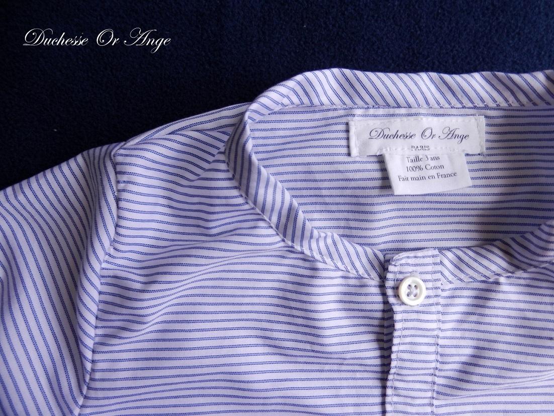 Doa 108 chemise enfant bleu et blanche navy and white child shirt b