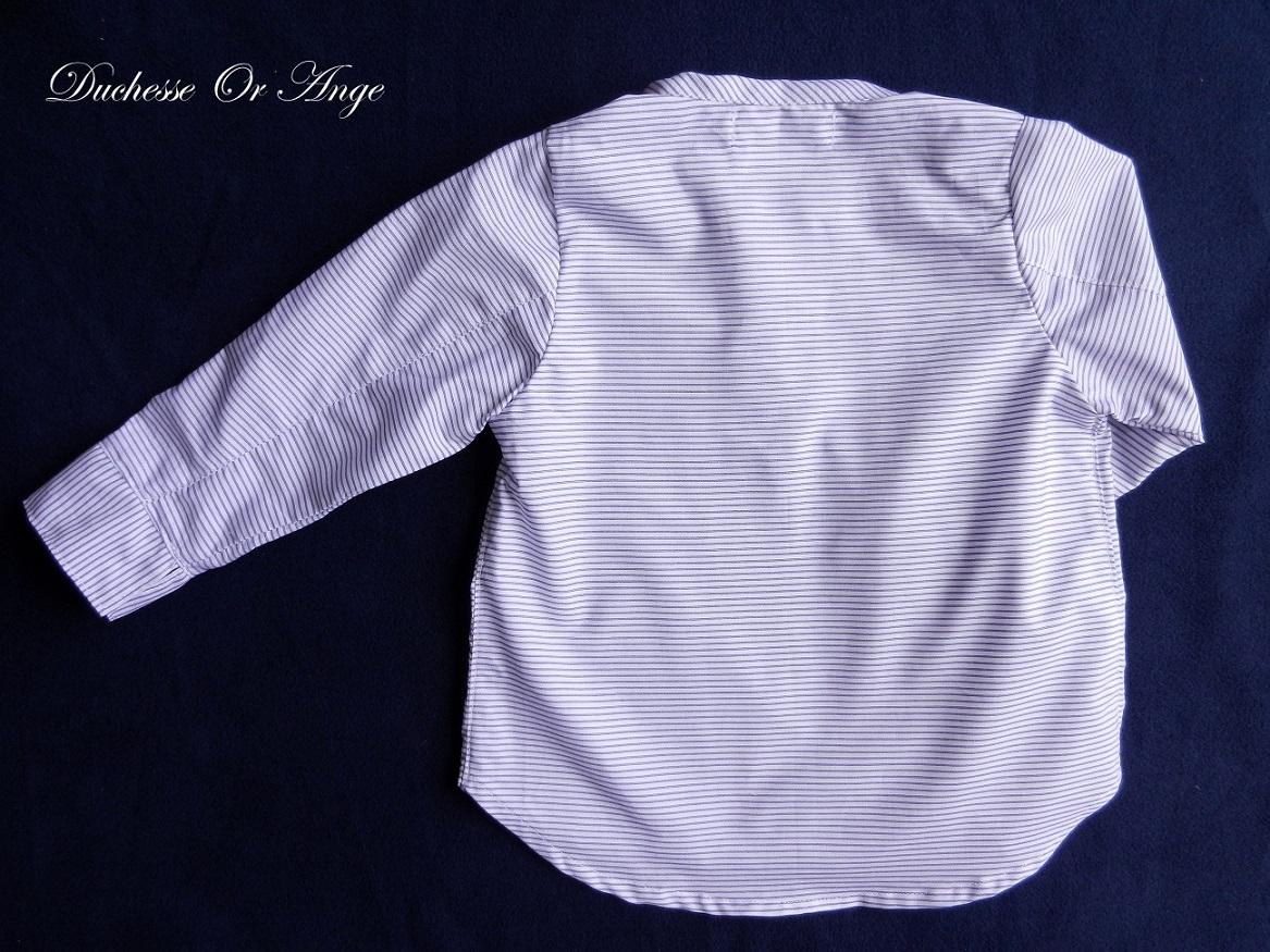 Doa 108 chemise enfant bleu et blanche navy and white child shirt c