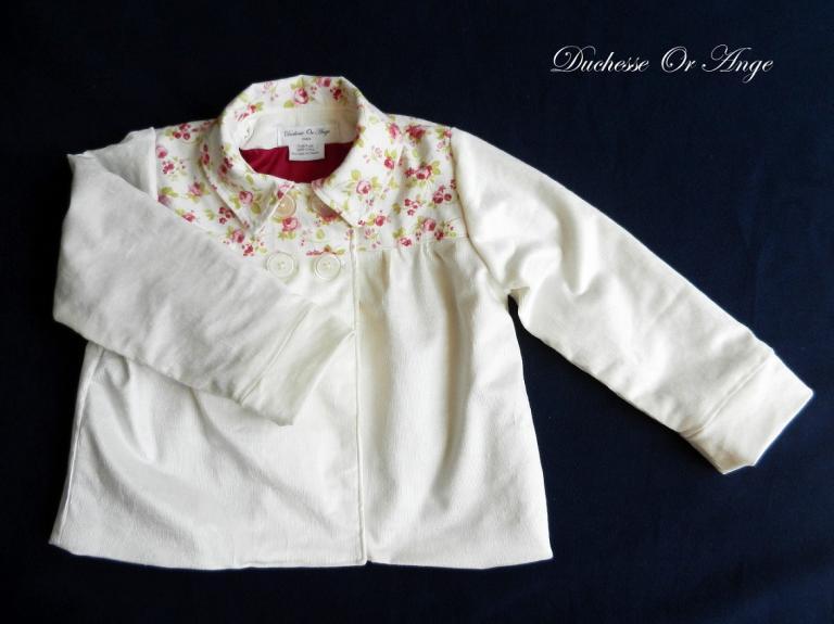 Veste doublée fille en velours  crème empiècement en coton imprimé petites roses - 4 ans