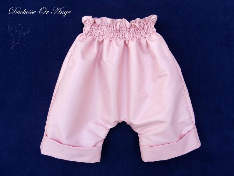 Pantalon court rose satiné - 12 mois