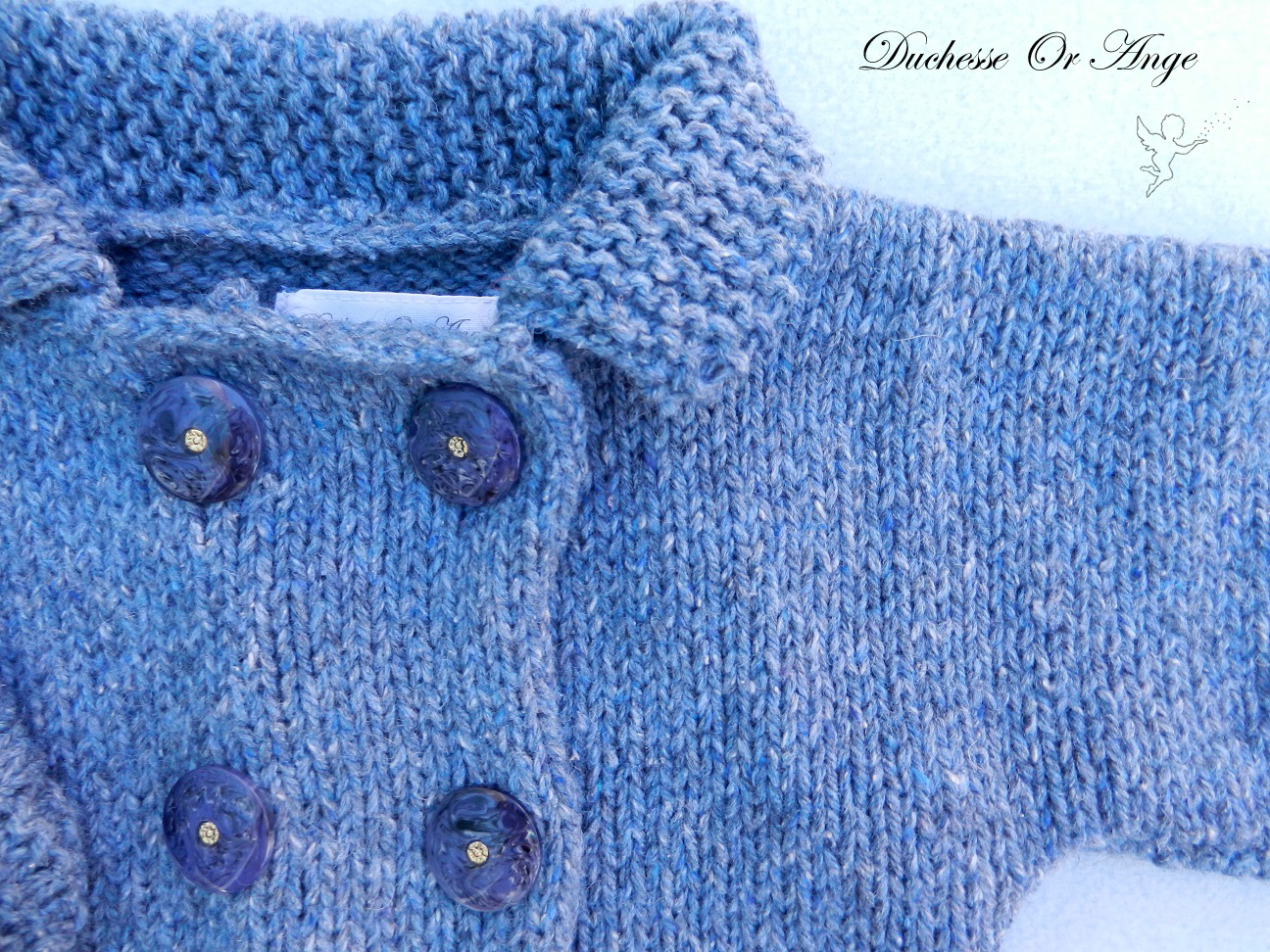 Doa 114 b veste laine bleue bebe wool blue baby jacket