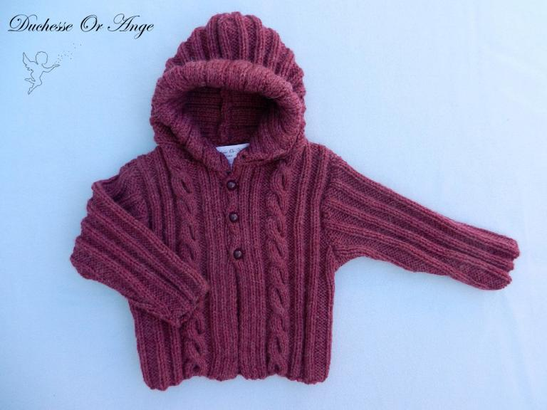 Burgundy wool hooded jacket - 12 months old