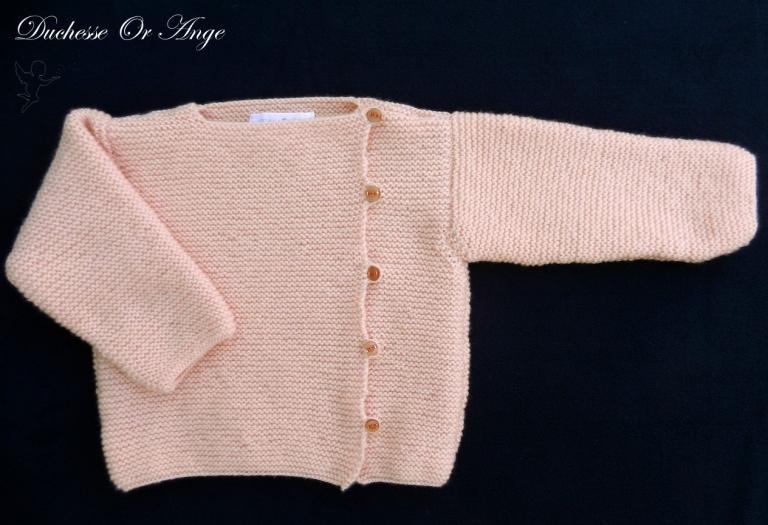 Brassière en tricot rose saumon - 12 mois