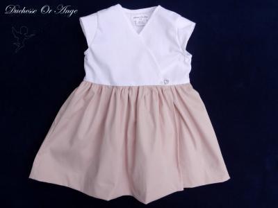 Robe de style cache cœur rose et blanche (g) - 3 ans