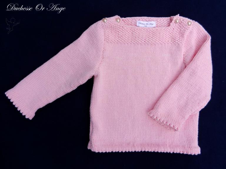 Pull en coton rose boutonné aux épaules - 2 ans