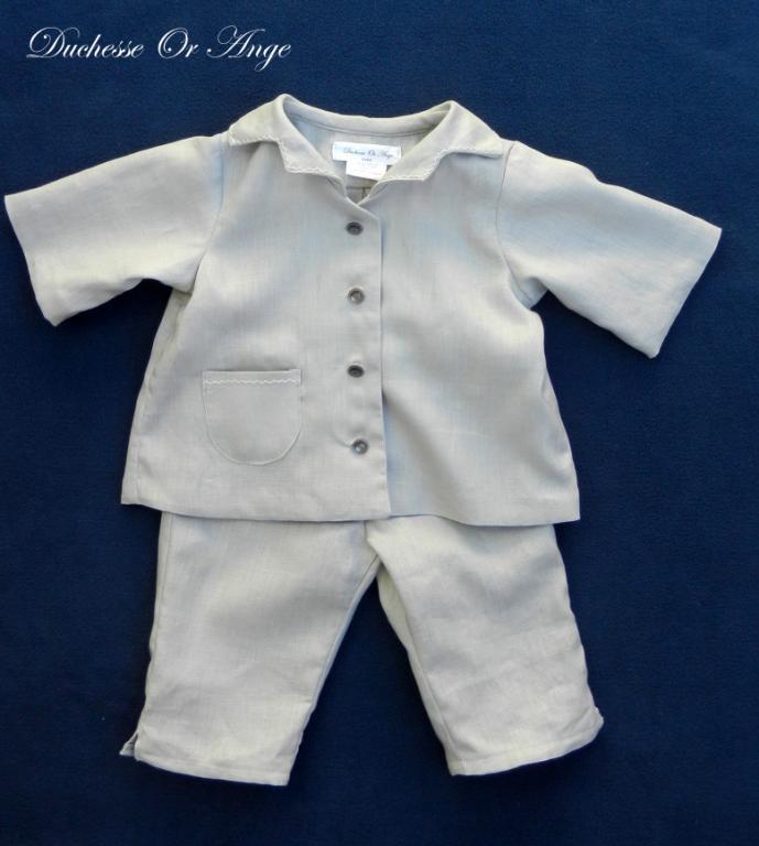Ensemble chemise et pantalon en lin gris - 12 mois