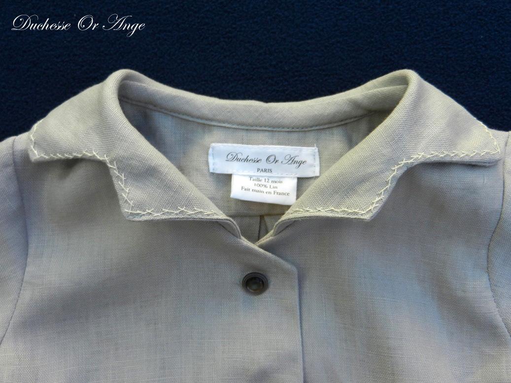 Doa 123 b ensemble bebe lin gris grey linen baby set