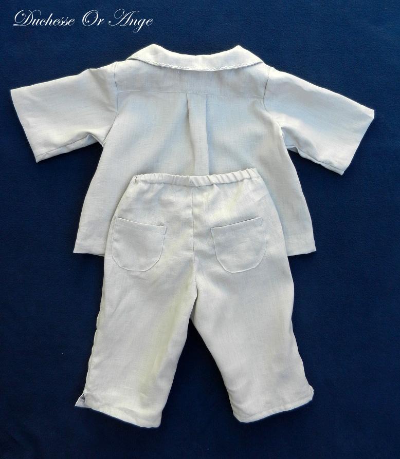 Doa 123 d ensemble bebe lin gris grey linen baby set 2