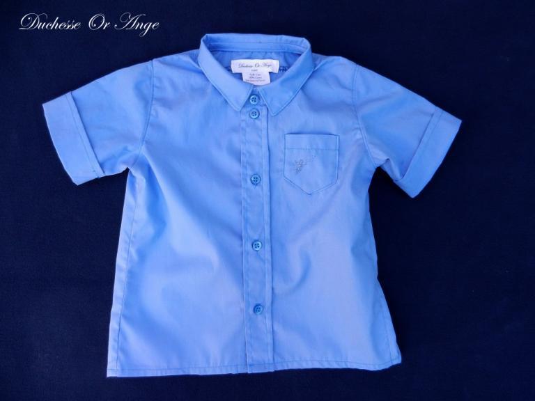 Chemise bleue ciel broderie à la main - 2 ans