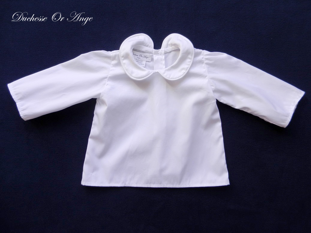 Doa 126 a chemise blanche bebe col claudine peter pan collar baby white shirt