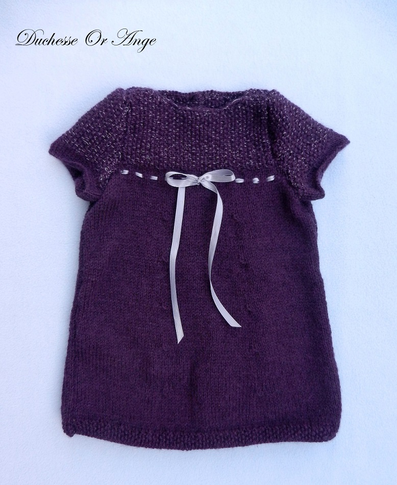 Doa 134 a robe tricot violet argent 6 mois knit dress purple silver 6 months old 1