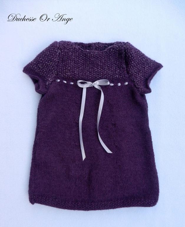 Robe manches courtes en tricot violet et argent - 6 mois