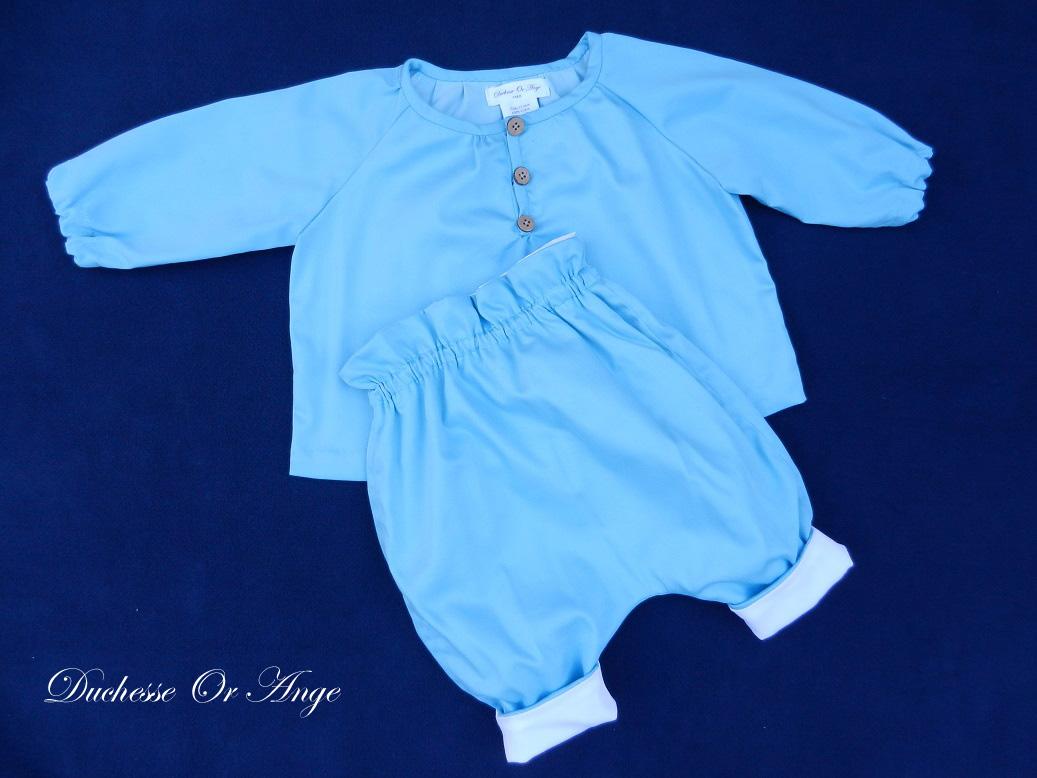 Doa 137 a ensemble bebe chemise pantalon bleu ciel sky blue baby set shirt trousers
