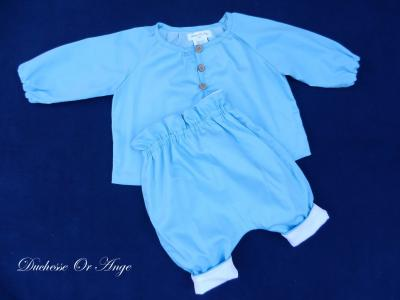 Sky blue cotton shirt and trousers set - 12 months old
