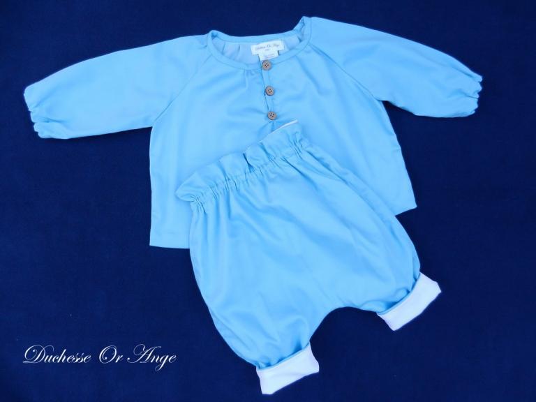 Ensemble chemise pantalon en coton bleu ciel - 12 mois