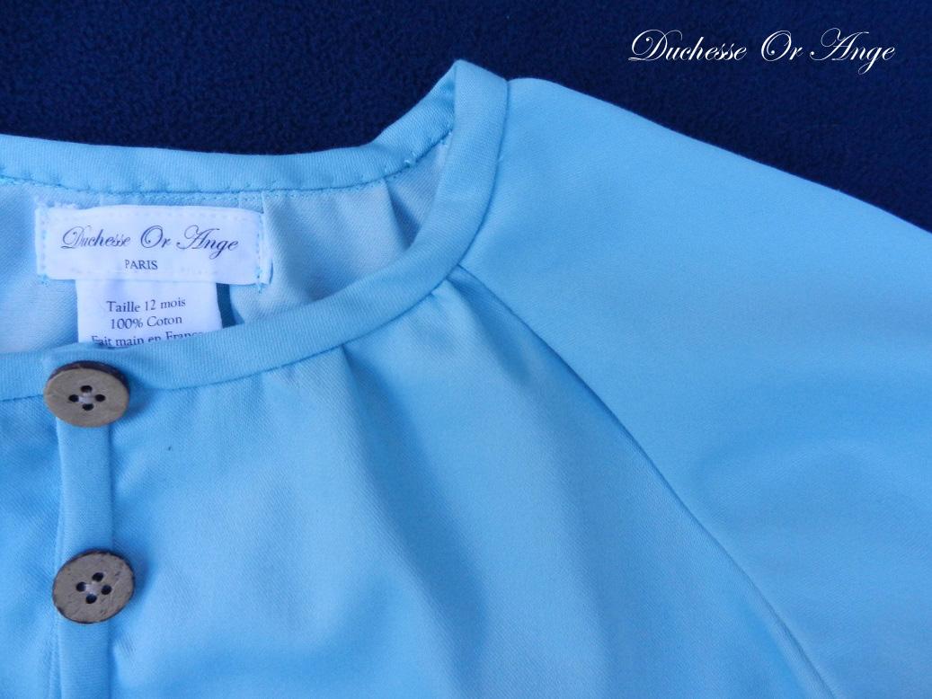 Doa 137 b ensemble bebe chemise pantalon bleu ciel sky blue baby set shirt trousers