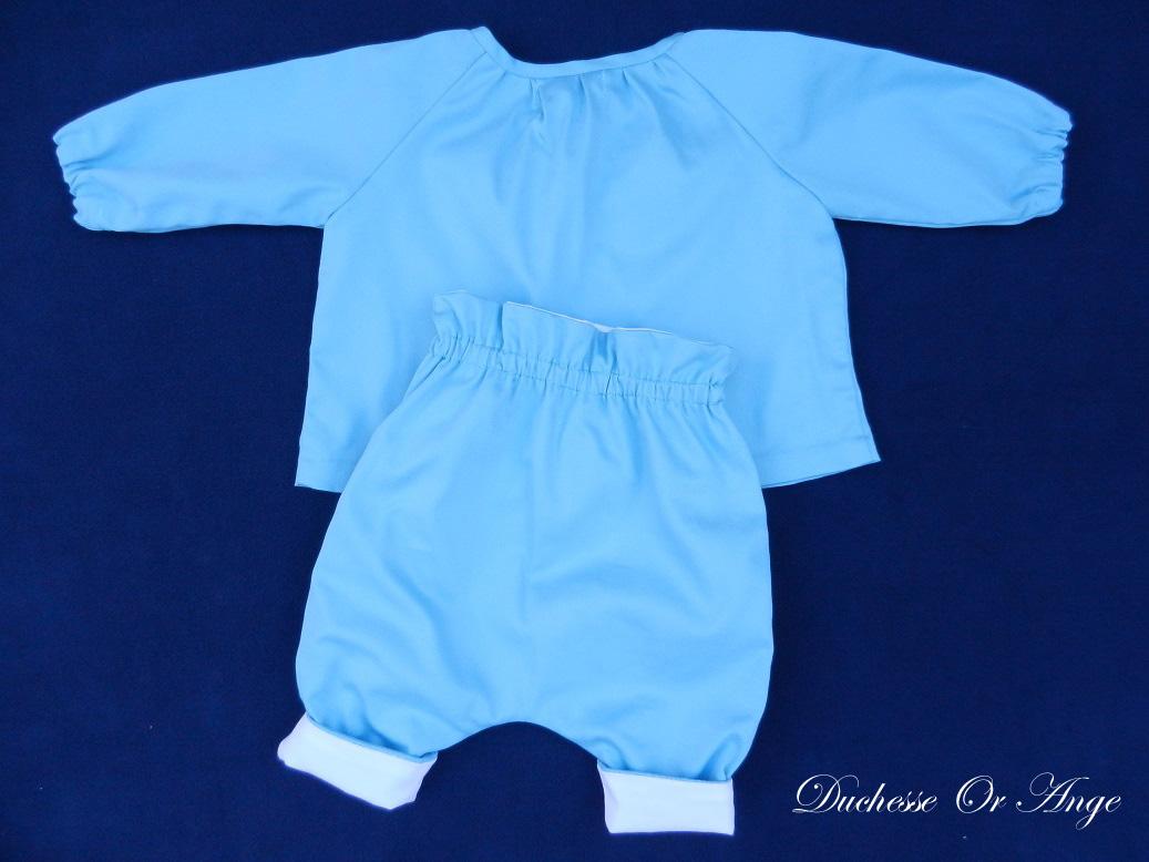 Doa 137 c ensemble bebe chemise pantalon bleu ciel sky blue baby set shirt trousers