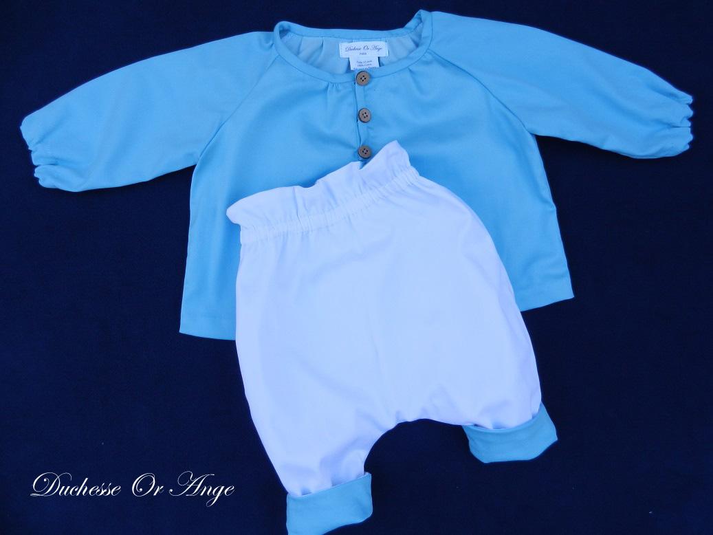 Doa 137 d ensemble bebe chemise pantalon bleu ciel sky blue baby set shirt trousers
