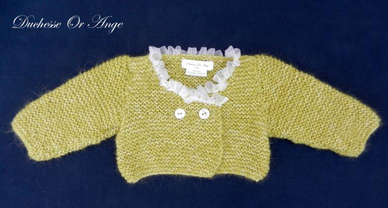 Green knitted cardigan with white organza neckline - 6 months old