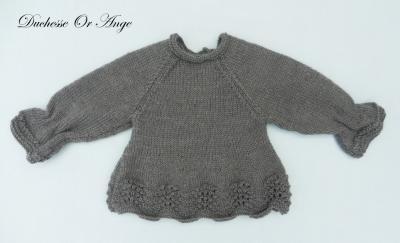 Haut en tricot gris anthracite froncé aux poignets - 3 mois