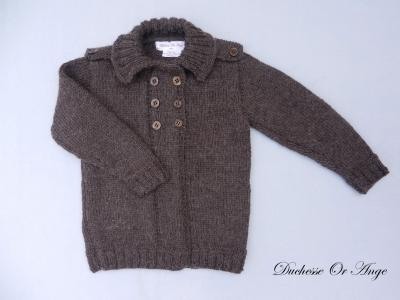 Brown knitted cardigan with shoulder boards - 2 years old