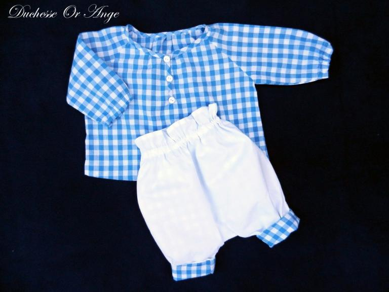 Blue and white gingham cotton shirt and trousers set - 6 months old