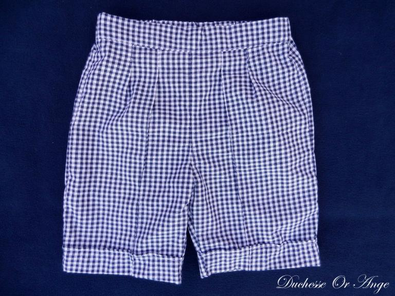 White and navy gingham cotton bermuda shorts - 2 years old