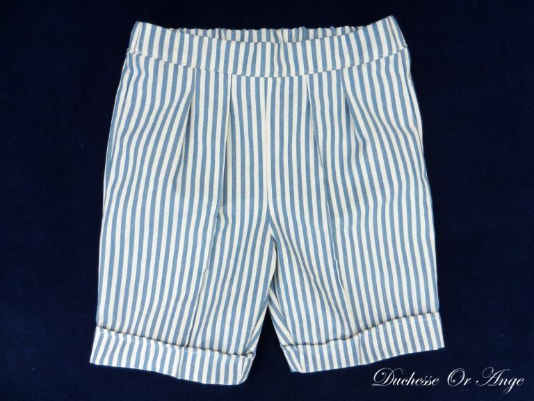 Cream and blue stripes cotton bermuda shorts - 2 years old