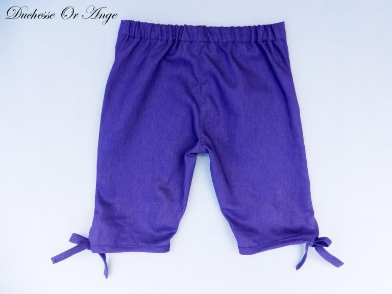 Pantacourt en coton et lin violet - 3 ans