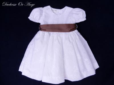 White butterflies pattern eyelet dress with puff sleeves - 12 months old