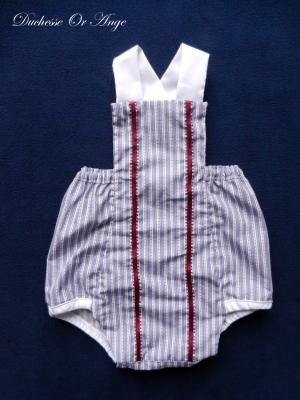 Purple and white stripes cotton romper suit - 3 months old