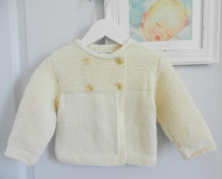 Cream knit cardigan in alpaca wool - 12 months old