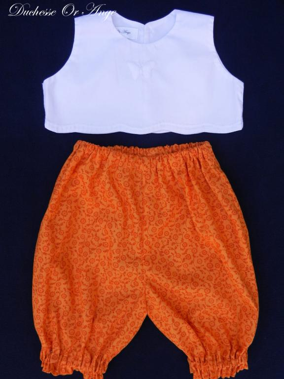 White sleeveless top with boutis embroidery and saffron yellow bloomer set  - 6 months old