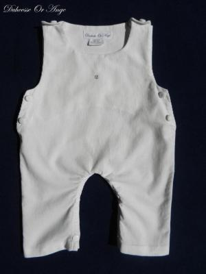 Off white cotton velvet baby overalls - 9 months