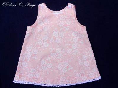 Pink and white floral cotton baby dress, white buttons in the shape of roses - 12 months old