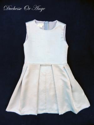 Flat pleats sleeveless dress in silver grey silk - 6 years old
