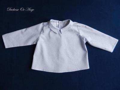 Blue-gray cotton shirt with white polka dots and pointed collar - 12 months