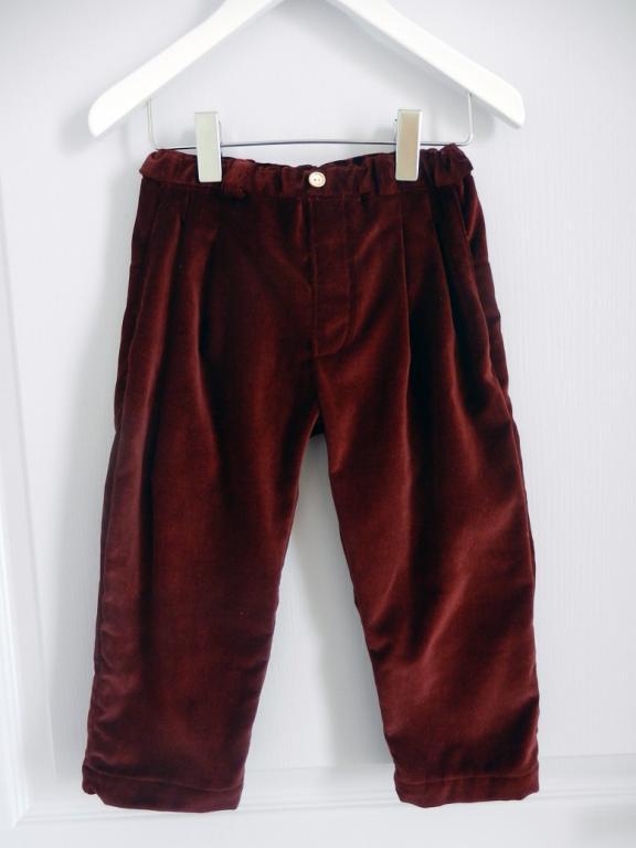 Plum cotton velvet trousers - 4 years old