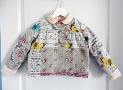Butterflies and flowers print girl lined jacket - 6 years old