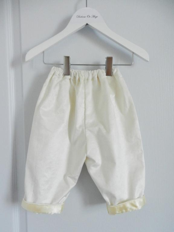 Shiny off white velvet trousers - 12 months old