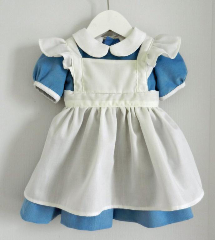 Sky blue velvet dress and white apron Alice in Wonderland - 12 months
