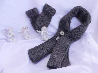 Echarpe et moufles en lainecouleur taupe - 6/9 mois